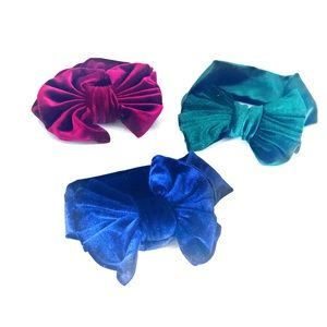 HANDMADE  Baby Girl Velvet Hair Bows 3 pieces